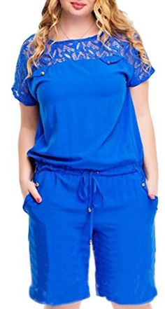 5d982337029 X-Future Womens Plus Size Short Sleeve Shorts Jumpsuits Rompers Playsuit  Blue XL Women s Plus