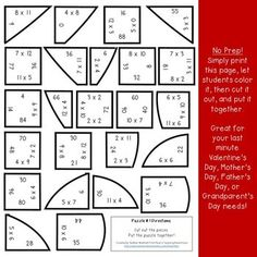 Multiplication Activities, Maths Puzzles, Math Games, Grandparents Day Activities, Mother's Day Activities, Valentines Games, Valentines Day Activities, Valentine Crafts, Christmas Gifts For Parents