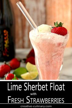A wonderful sweet and tart combination, this Lime Sherbet Float with Strawberries and Prosecco is made even better with the addition of chilled Italian Prosecco.