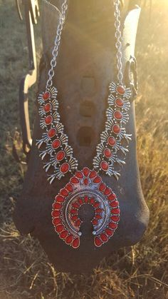 COWGIRL Southwest Red Antiqued silver tone  SQUASH BLOSSOM Western NECKLACE SET #HANEE