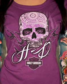 Harley Davidson Womens H D Sugar Skull Calavera Purple Tattoo Sleeves T Shirt | eBay