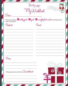 Wedding Gift List Holiday : Christmas wish list idea. Could customize for birthday, wedding, new ...