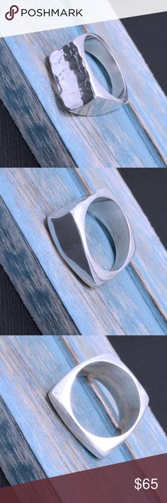 """Heavy Taxco Sterling Silver Ring Weighs 10.9 grams. Top dimension: 11mmx 20mm. Stamped """"925"""". The image is of the actual article that is being sold. Sterling silver is an alloy of silver containing 92.5% by mass of silver and 7.5% by mass of other metal. The fitness on this ring is 950. All my jewelry is solid sterling silver. I do not plate. crafted in Taxco, Mexico. Jewelry Rings"""