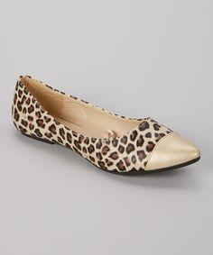 Look at this #zulilyfind! LOLA Brown & Gold Leopard Pointy-Toe Flat by LOLA #zulilyfinds