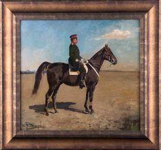 """Ivan Alekseevic VLADIMIROV (1869-1947) """"Offizier zu Pferde""""  Gemälde Öl/Leinwand auf Karton, 35,7c"""