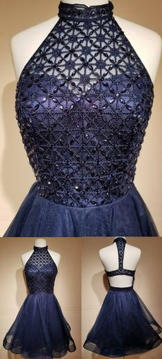 Charming Tulle Prom Dress, Navy Blue Homecoming Dress,