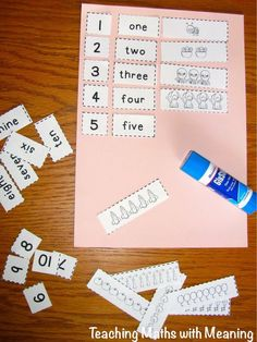 Number Cut and Paste! Teach One to One Correspondence with this activity. Perfect for Kindergarten and preschool children. Great math activities that are easy to implement in your classroom. Fabulous resource for teachers and great learning for students. Math centers.