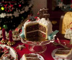 Cut Rudolph Christmas Cake - Dollhouse miniature in 1:12 scale by Hummingbird Miniatures, via Flickr