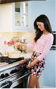 Floral and stripes... this is exactly what i look like when i cook dinner.