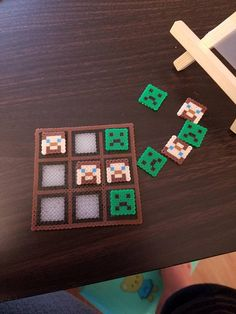 Items similar to Handmade Minecraft Inspired Tic-Tac-Toe Gameboard & Pieces Made with Mini Perler Beads on Etsy – Famous Last Words Easy Perler Bead Patterns, Melty Bead Patterns, Perler Bead Templates, Diy Perler Beads, Perler Bead Art, Beading Patterns, Hamma Beads 3d, Fuse Beads, Pearler Beads