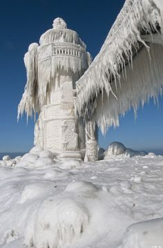 Icy and Intriguing - St. Joseph's Lighthouse, Michigan