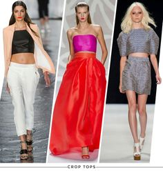 Spring Trend: Crop Tops... It's still hot. The crop top. But the rule of thumb, as I understand it, is if you wore a trend the first time around, you probably shouldn't partake this time around. Haha. So I'm out.