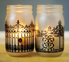 Charleston Iron Gate Inspired Mason Jar Lanterns with Frosted Glass and Hand Painted Black Detailing