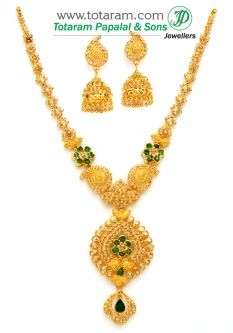Buy 22K Gold Necklace & Drop Earrings Set with Uncut Diamonds - DS624 with a list price of $4,386.99 - 22K Indian Gold Jewelry from Totaram Jewelers