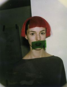 Backstage Hussein Chalayan A/W 1998. Make-up Pat McGrath.