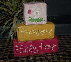 Decorate your home, office or party with primitive wood blocks from Blocks Upon a Shelf. We're happy to make you custom order. Brick Crafts, 2x4 Crafts, Stone Crafts, Painted Pavers, Easter Crafts, Easter Ideas, Tulips Flowers, Wooden Blocks, Spring Crafts