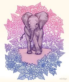 Cute Baby Elephant in pink, purple & blue by micklyn - Available as T-Shirts & Hoodies, Stickers, iPhone Cases, Samsung Galaxy Cases, Posters, Home Decors, Tote Bags, Prints, Cards, Kids Clothes, and iPad Cases