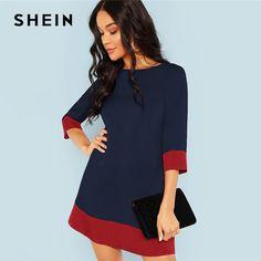 d7b846f046c1504 Шеин темно-синее элегантное офисное женское платье с цветными блоками,  контрастная отделка, туника