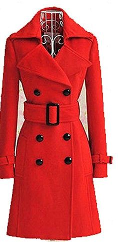 0025 Womens Red WOOL Coat Parka Long Jacket Trench Outwear With Belt ** Visit the image link more details.