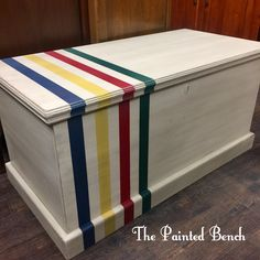 A Hudson's Bay Blanket Blanket Box! Annie Sloan Paint in Old Ochre, some mixes to make the stripes, finished off with Clear and Dark Wax after a little distressing. Beautiful!