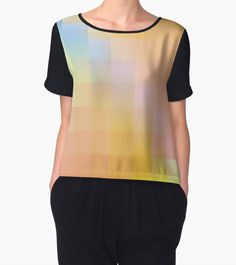 Available on more products!  http://www.redbubble.com/people/davidsredbubble/works/23563037-color-and-grid?p=chiffon-top&rel=carousel  #geometric #art #redbubble #women #fashion #style #shirt #chiffon #top #all #over #print #orange #blue #square #geometry #buy #sale