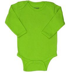 Elowel Dark Green Long Sleeve Baby Bodysuit 100% Cotton (Size18-24M)