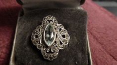 vintage sterling ring with marcasite and aquamarine by NewYorkJunk on Etsy