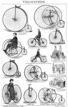 Drawing from an 1887 German encyclopedia of various velocipedes,  penny-farthings and other human-powered vehicles. Who Invented the Bicycle  e7f3979118