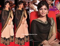 Samantha at Attarinktiki Daaredi Audio Launch in Sabyasaachi outfit #indian #fashion | for more inspiration visit www.shaadibelles.com