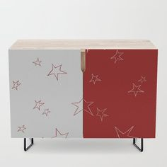 Stars - Red and White Credenza by laec | Society6