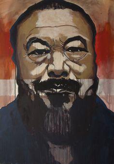 """EvaSchlitzer """"Ai Weiwei"""", 100 x 80, Acryl auf Leinen, 2017, Portrait,  zeitgenössische Malerei, Gegenständliche Kunst Collage, My Works, Portrait, Painting, Linen Fabric, Artworks, Painting Art, Pictures, Collages"""