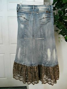Items similar to Ruffled taupe lace mermaid jean skirt metallic mocha embellished Renaissance Denim Couture fairy goddess belle bohémienne on Etsy Diy Lace Jeans, Denim And Lace, Diy Old Jeans, Recycle Jeans, Mocha, Jeans Refashion, Renaissance, Couture Skirts, Denim Crafts