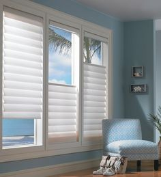 Hunter Douglas Vignette Modern Roman Shades in Den / http://www.interiors-furniture.com/WindowsWalls.inc