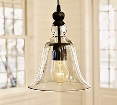 Lighting Sale | Pottery Barn Rustic Glass pendant.  Would look great over a kitchen island.