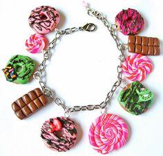 Charm Bracelet Polymer Clay Doughnut