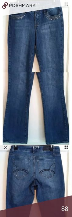 """ZANA-DI 👖 EMBELLISHED BOOTCUT JEANS Women's 6 L32 SUPER CUTE excellent condition pre-owned mid-rise distressed BOOTCUT jeans by ZANA-DI! Size women's 6. Waist: 15.5"""" across lying flat  Inseam: 32"""" Rise 9"""" Embellished with silver-tone accents. Material 99% cotton, 1% spandex. ZANA-DI Jeans Boot Cut"""