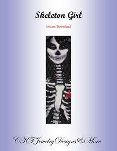 Halloween Skeleton Girl Peyote Bracelet Cuff by CKFJewelryDesigns