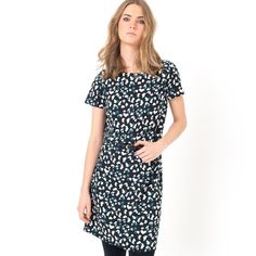 Printed Crêpe Short-Sleeved Shift Dress LES PETITS PRIX