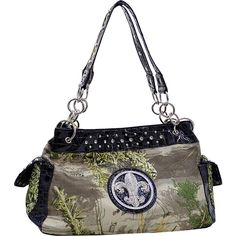 Dasein Fleur de Lis Realtree Camouflage Tote - Camouflage/Black -... ($46) ❤ liked on Polyvore featuring bags, handbags, tote bags, black, cell phone pouch, zipper pouch, zippered leather tote, zipper tote and zip pouch