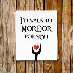 Valentines Card Lord of The Rings - DIY Printable Card - Funny Valentines Day - Mordor - Romantic Love Greeting Card Gift - Geek Nerd DIY by PrintyMuch // found on @etsy