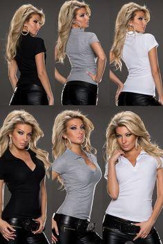 Basic Damen Polo Shirt Blusenshirt Bluse Hemdbluse Hüftlang Kurzarm36-42 3Farben