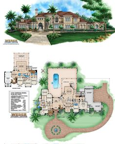 Casa Hermosa House Plan, Spanish Mediterranean mansion floor plan with Tuscan architectural influence. House Plans Mansion, Luxury House Plans, Dream House Plans, House Floor Plans, Luxury Houses, Tuscan House Plans, Mediterranean House Plans, Custom Home Designs, Mansions Homes
