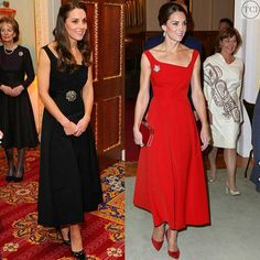 #katemiddleton have the same #preen dress but in 2 colours. Do you prefer the black or the red one?