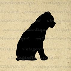 Printable Dog Silhouette Digital Image Download Graphic Antique Clip Art. Printable high quality digital image for making prints, fabric transfers, papercrafts, tote bags, pillows, and more great uses. For personal or commercial use. This digital image is high quality and high resolution at size 8½ x 11 inches. A Transparent background png version is included.