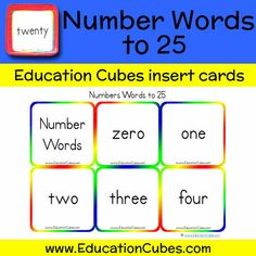 Number Words to 25 Zero One, Number Words, Cubes, Mathematics, The Twenties, Education, Learning, Math, Studying