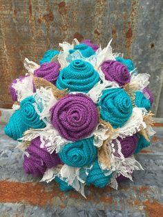 Turquoise and Purple  Burlap and Lace Bride's by GypsyFarmGirl