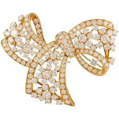 Van Cleef Arpels Diamond Bow Brooch ❤ liked on Polyvore featuring jewelry, brooches, jewerly/brooches, bow brooch, diamond brooch, diamond bow jewelry, diamond jewellery and diamond jewelry