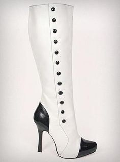 2-Tone Spats Style Knee High Boots
