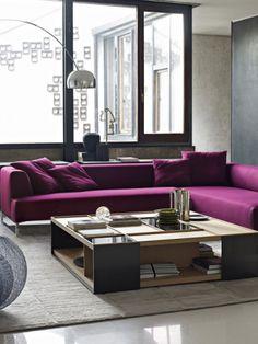 D cor de votre salon avec des reflets violets photos for Canape urbain
