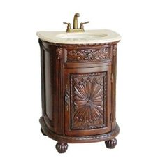Antique Filipino dressers turned into wash basins-- with stained concrete countertops and Spanish tile? Painted/antiqued furniture even better!